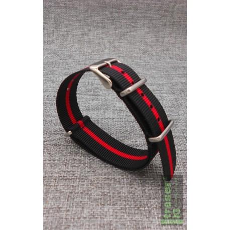 Traser® H3 NATO tekstilės laikrodžio apyrankė, Juoda/Raudona