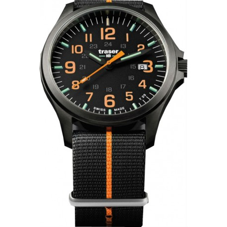 Traser® P67 Officer Pro Gun Metal NATO, JUODA/ORANGE